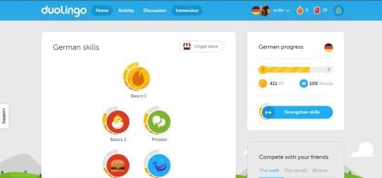 așa arată site-ul duolingo.com